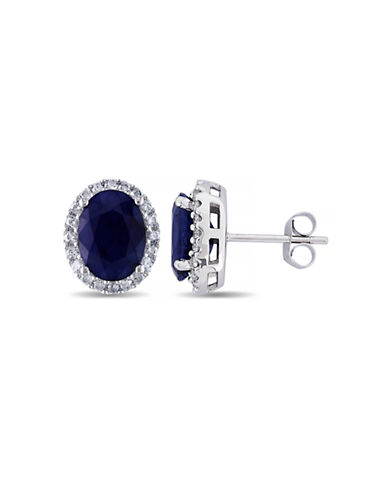 Concerto .375 CT  Diamond TW And 5.3 CT TGW Diffused Sapphire Ear Pin 14k White Gold Earrings-BLUE-One Size