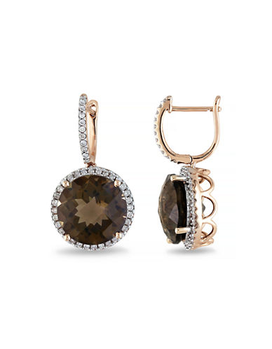 Concerto .5 CT  Diamond TW And 11.6 CT TGW Smokey Quartz 14k Pink Gold Ear Pin Earrings-BROWN-One Size