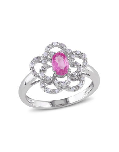 Concerto .167 CT  Diamond TW And .625 TGW Pink Sapphire 14k White Gold Fashion Ring-PINK-8