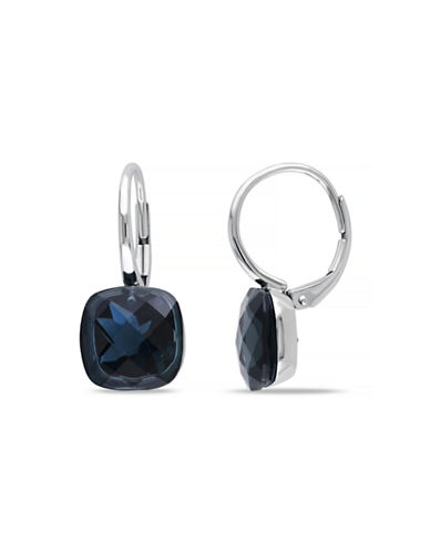 Concerto 10.5 CT TGW Blue Topaz - London 14k White Gold Leverback Earrings-BLUE-One Size