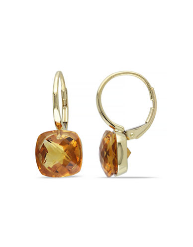 Concerto 8 CT TGW Madeira Citrine 14k Yellow Gold Leverback Earrings-ORANGE-One Size