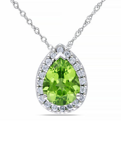 Concerto .2 CT  Diamond TW And 1.625 CT TGW Peridot Fashion Pendant With 14k White Gold Chain-GREEN-One Size