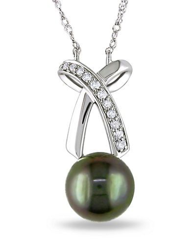 Concerto .1 CT  Diamond TW 8 - 8.5 MM Black Tahitian Pearl Fashion Pendant With 14k White Gold Chain-BLACK-One Size