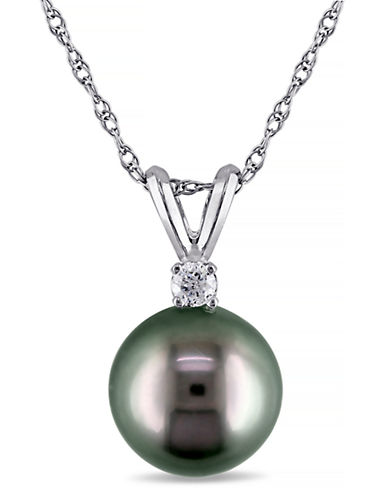 Concerto 14KW Pendant with .05TDW 8-9mm Tahitian Pearl and Chain-BLACK-One Size