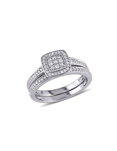 Concerto 0.24 TCW Diamond and Sterling Silver Layered Square Halo Bridal Ring-WHITE-5