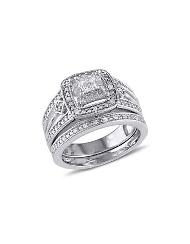Concerto Princess-Cut 0.24 TCW Diamond Quad Filigree Sterling Silver Bridal Ring Set-WHITE-5