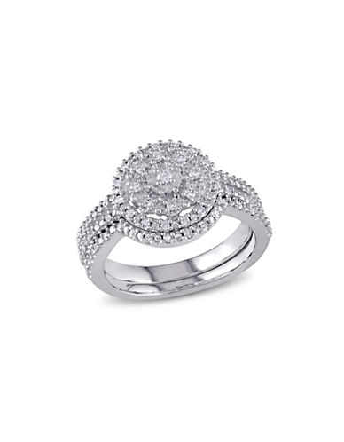 Concerto 0.24 TCW Diamond and Sterling Silver Halo Split Shank Bridal Ring-WHITE-8