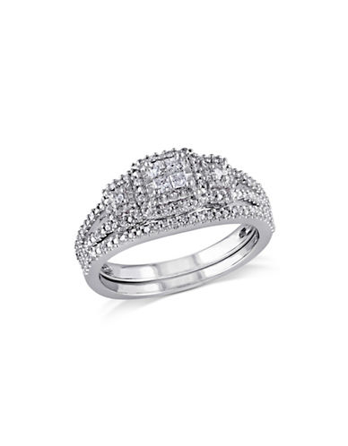 Concerto 0.24 TCW Diamond and Sterling Silver Quad Split Shank Bridal Ring-WHITE-5