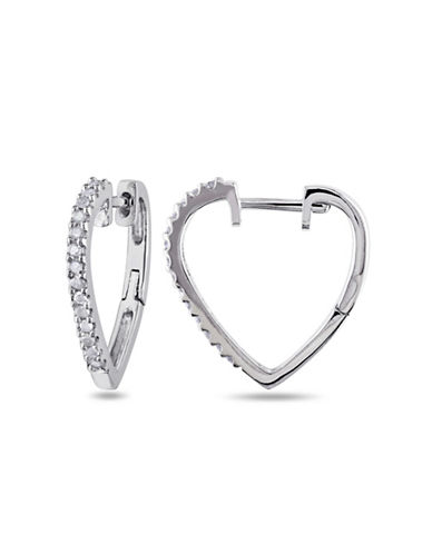 Concerto Diamond Sterling Silver Heart Earrings-DIAMOND-One Size