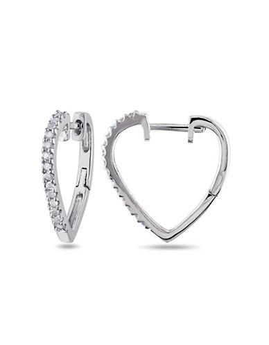 Concerto Diamond Sterling Silver Heart Earrings-DIAMOND-One Size