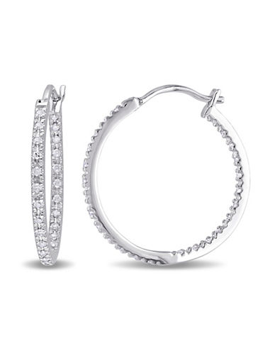 Concerto 0.25TCW Diamond Sterling Silver Hoop Earrings-DIAMOND-One Size