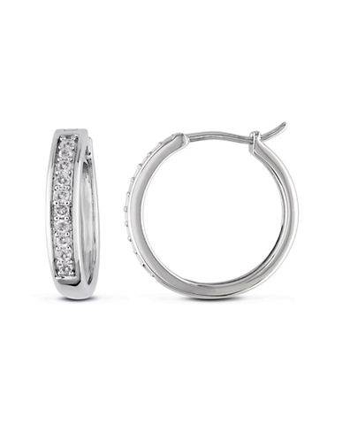 Concerto Diamond Sterling Silver Hoop Earrings-DIAMOND-One Size