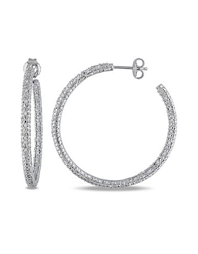 Concerto Pave Diamond Sterling Silver Hoop Earrings-DIAMOND-One Size