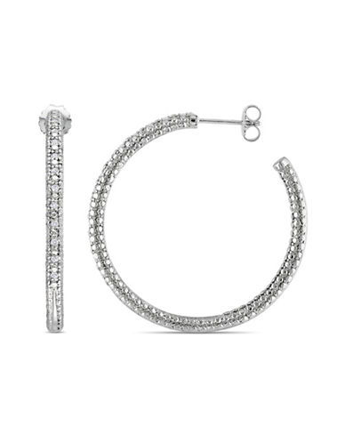 Concerto 0.25TCW Pave Diamond Sterling Silver Hoop Earrings-DIAMOND-One Size