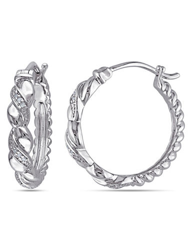 Concerto 0.05TCW Diamond Sterling Silver Twisted Hoop Earrings-DIAMOND-One Size