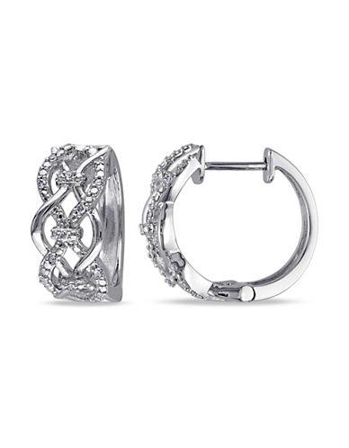 Concerto Diamond Sterling Silver Hoop Earrings-DIAMOND-One Size