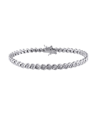 Concerto Diamond Cluster Sterling Silver Filigree Tennis Bracelet-DIAMOND-One Size