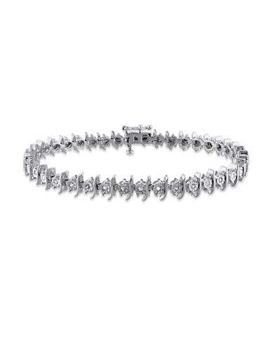 Concerto Diamond Sterling Silver Filigree Tennis Bracelet-DIAMOND-One Size