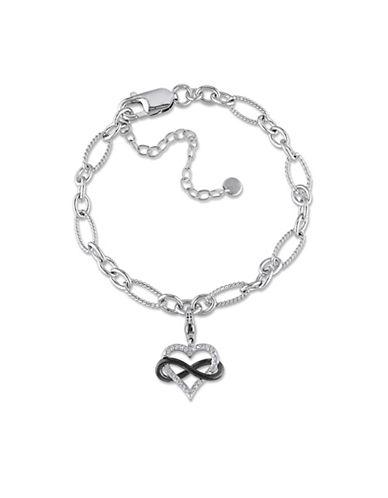 Concerto Diamond Infinity Heart Charm Sterling Silver Bracelet-DIAMOND-One Size