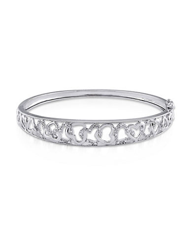 Concerto Diamond Sterling Silver Heart Bangle Bracelet-DIAMOND-One Size