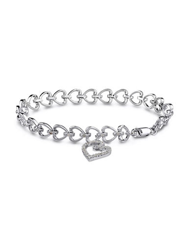 Concerto Diamond Sterling Silver Linked Heart Charm Bracelet-DIAMOND-One Size