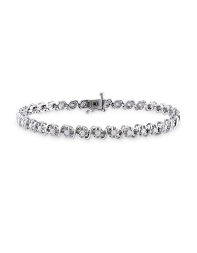 Concerto Round Diamond Sterling Silver Filigree Tennis Bracelet-DIAMOND-One Size