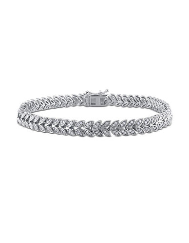 Concerto Diamond Leaf Link Sterling Silver Tennis Bracelet-DIAMOND-One Size