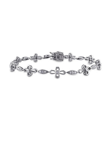Concerto Diamond Sterling Silver Flower Link Bracelet-DIAMOND-One Size