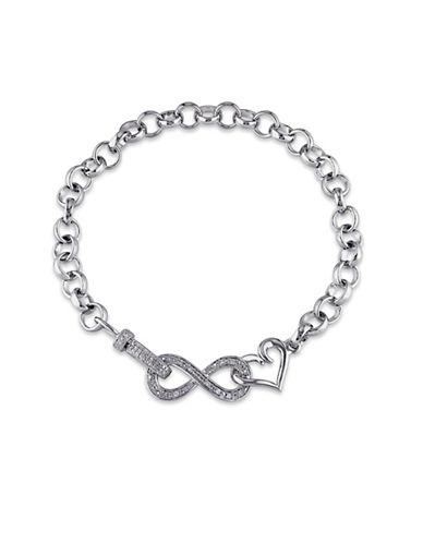 Concerto Pave Diamond Infinity Clasp Sterling Silver Bracelet-DIAMOND-One Size