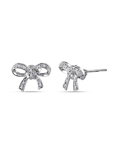 Concerto Diamond Sterling Silver Bow Stud Earrings-DIAMOND-One Size