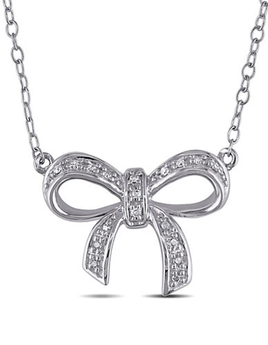 Concerto Diamond Sterling Silver Bow Necklace-DIAMOND-One Size
