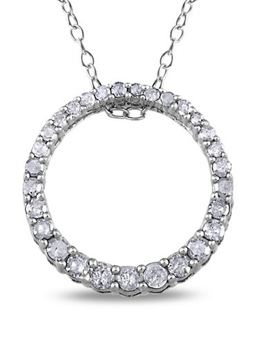 Concerto Diamond Open Circle Pendant Sterling Silver Necklace-DIAMOND-One Size