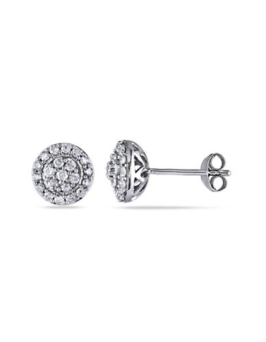 Concerto Diamond Halo Sterling Silver Stud Earrings-DIAMOND-One Size