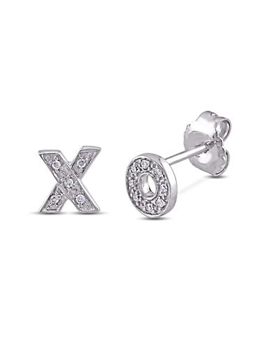 Concerto Diamond XO Sterling Silver Stud Earrings-DIAMOND-One Size
