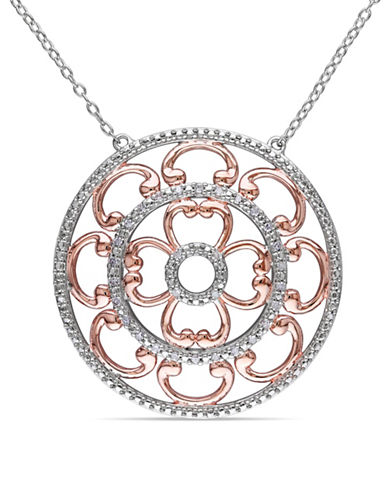 Concerto Diamond Medallion Two-Tone Sterling Silver Necklace-DIAMOND-One Size