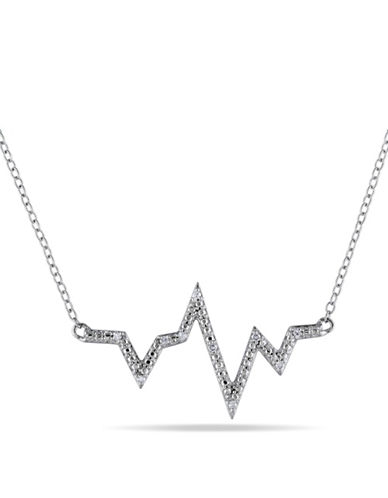 Concerto Diamond Heartbeat Sterling Silver Necklace-DIAMOND-One Size