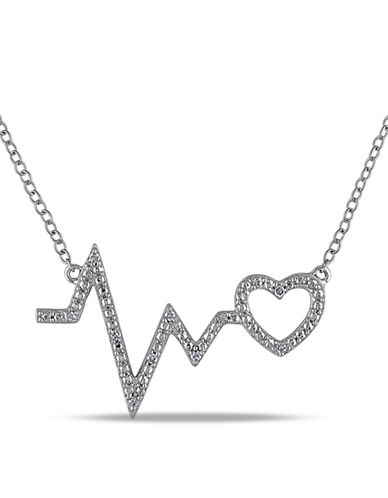 Concerto Diamond Heartbeat Pendant Sterling Silver Necklace-DIAMOND-One Size
