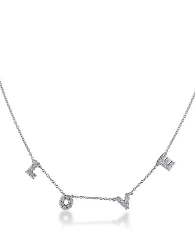 Concerto Diamond Love Sterling Silver Station Necklace-DIAMOND-One Size