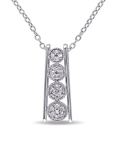 Concerto Diamond Sterling Silver Linear Drop Necklace-DIAMOND-One Size