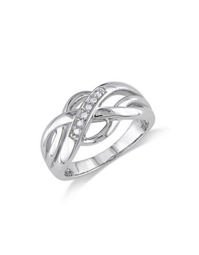 Concerto Diamond Sterling Silver Criss-Cross Ring-DIAMOND-7