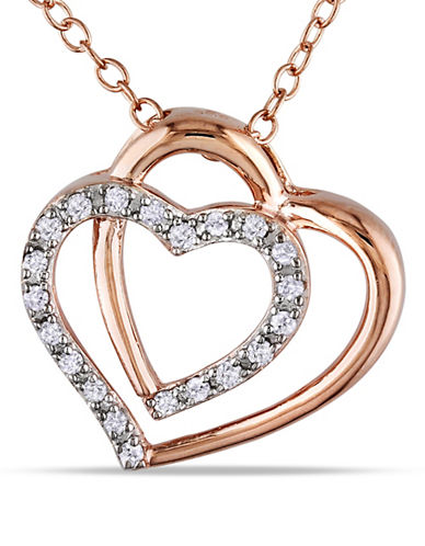Concerto Prong-Set Diamond Double Heart Necklace-DIAMOND-One Size
