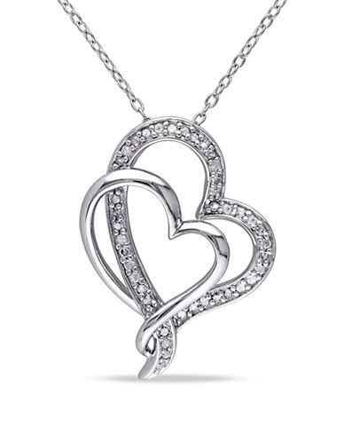 Concerto Pave Diamond Double Heart Necklace-DIAMOND-One Size