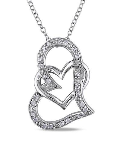 Concerto Pave Diamond Embracing Hearts Necklace-DIAMOND-One Size