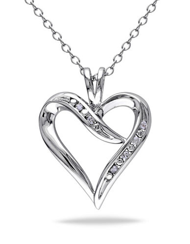 Concerto Diamond Swirl Heart Necklace-DIAMOND-One Size