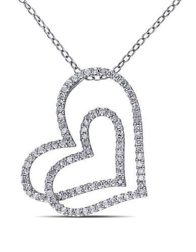 Concerto Pave Diamond Connected Hearts Necklace-DIAMOND-One Size