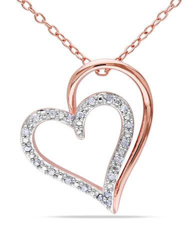 Concerto Diamond Double Heart Necklace-DIAMOND-One Size