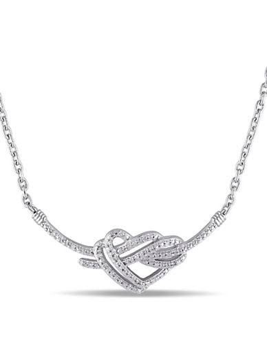 Concerto Diamond Knotted Heart Necklace-DIAMOND-One Size