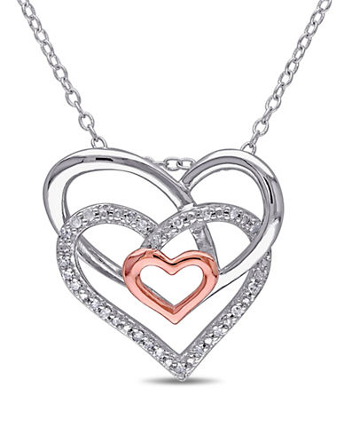 Concerto Diamond Two-Tone Triple Heart Necklace-DIAMOND-One Size