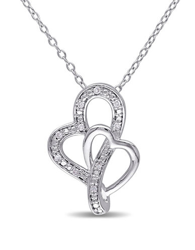 Concerto Diamond Interlocking Hearts Necklace-DIAMOND-One Size