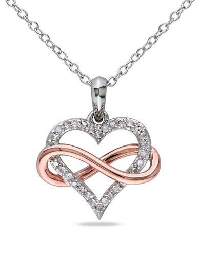 Concerto Two-Tone Diamond Framed Heart Necklace-DIAMOND-One Size